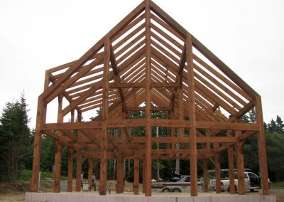 Timber frame from prow front