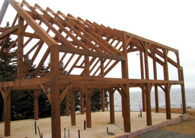 Side view of timber frame