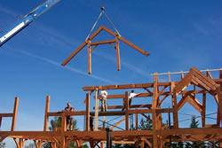 Flying in a truss by crane.