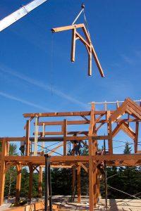 Flying in a truss by crane